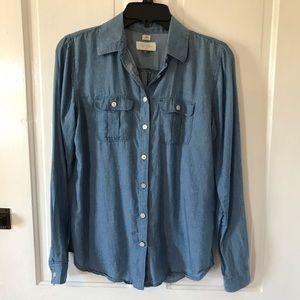 LOFT Softened Chambray blue button down shirt